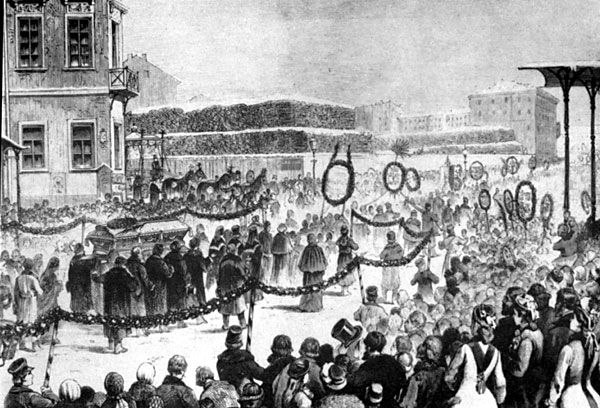 Dostoyevsky's funeral, with more than 60,000 visitors, drawing by V. Porfiryev..jpg